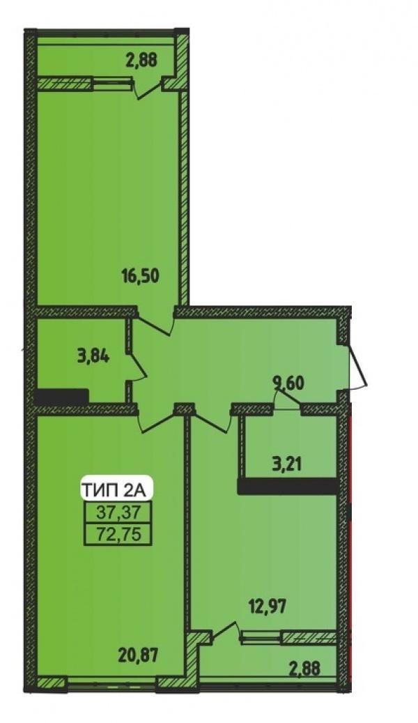 Планировки двухкомнатных квартир 72.75 м^2
